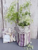Lilac Stripe Fabric Vase Medium