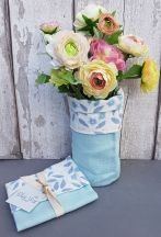Blue Linen Vase